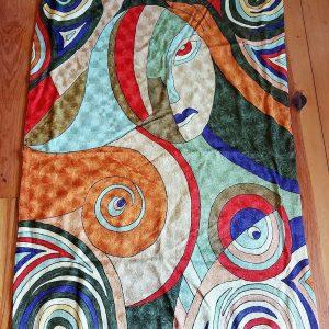Kashmiri Chain Stitch Rugs, Picasso, Silk, 6 feet by 4 feet