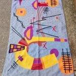 Kashmiri Chain Stitch Rugs, Picasso style, 5 feet by 3 feet