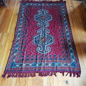 Kashmiri Chain Stitch Rug, Original, Handmade, 6 feet by 4 feet