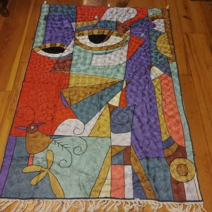 Kashmiri Chain Stitch Rug, Picasso, in Silk, 6 feet by 4 feet