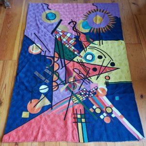 Kashmiri Chain Stitch Rug, Picasso, in Silk, 6 feet X 4 feet