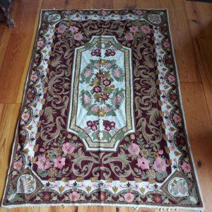 Kashmiri Chain Stitch Rug in wool, 6 feet by 4 feet