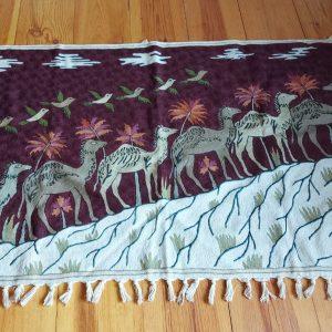 Kashmiri Chain Stitch Rug, Camel Style, 5 feet by 3, wool