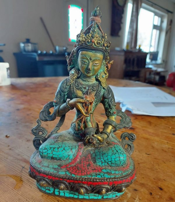 9 inch gold painted buddha in cloisonné price 300