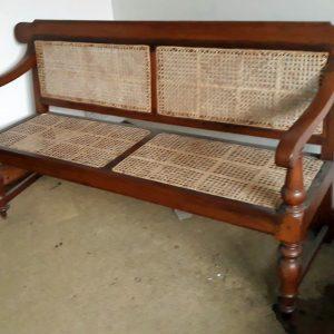 Burma teak rattan bench length 5 feet. Price 800 euro