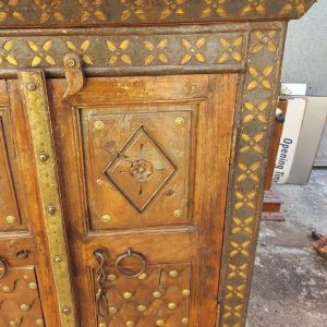 Indian brass inlaid cupboard H 53 inches width 37.5 inches depth 16.5 900 eur