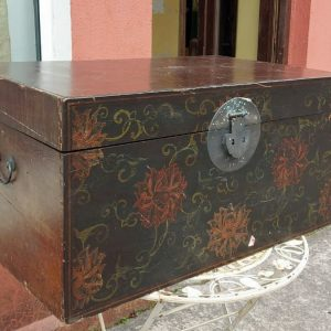 Old decorated chest with brass handles and clasp length 36 inches width 22 inches height 18 inches price 320 euro.jpg