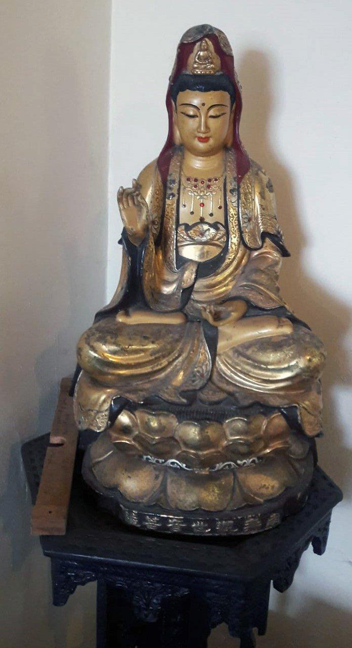 Quan-yin-statue-in-brass-and-semi-precious-stones-17-inches-high-price-350