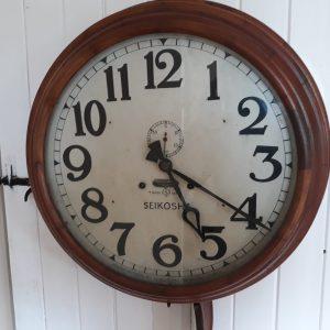 Seikosha Wall clock with second inlaid dial in mahagony case Seikosha Japanese mahogany wall clock. Early 20th century mahogany wall clock