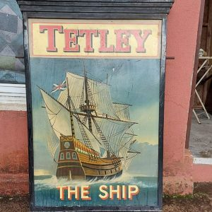 Shops Tetley Advertising sign 49 inches high 32 inches wide
