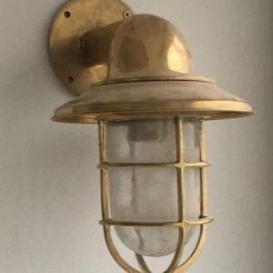 vintage round base bulkhead light tall glass 1 pc.(very rare) Bulk head lamp in brass price 160